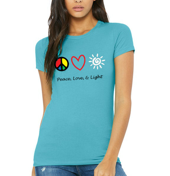Peace, Love, & Light - Women's Favorite 100% Cotton Tee