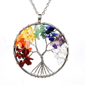 Powerful Tree of Life Pendant Necklace: Chakra Colors & Stones for Protection, Abundance, Strength - FabulousLife