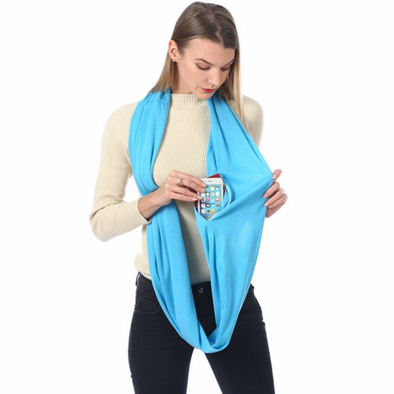 Infinity Scarf with Zipper Pocket for Valuables!
