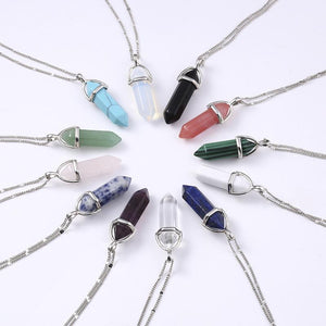 Natural Crystal & Stone Quartz Pendants on Chain Necklaces, Healing Crystals, Power Stones - FabulousLife