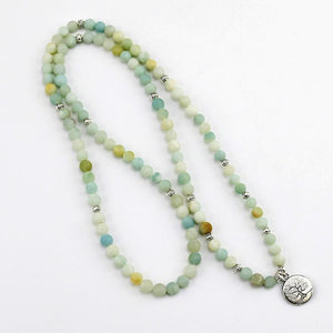108 Mala Prayer Beads, Frosted Amazonite, Tree of Life Charm: Bracelet, Necklace - FabulousLife