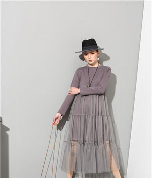 Sexy Asymmetrical Gray Dress with Tiered Sheer Lacy Layers, Unique Style! - FabulousLife