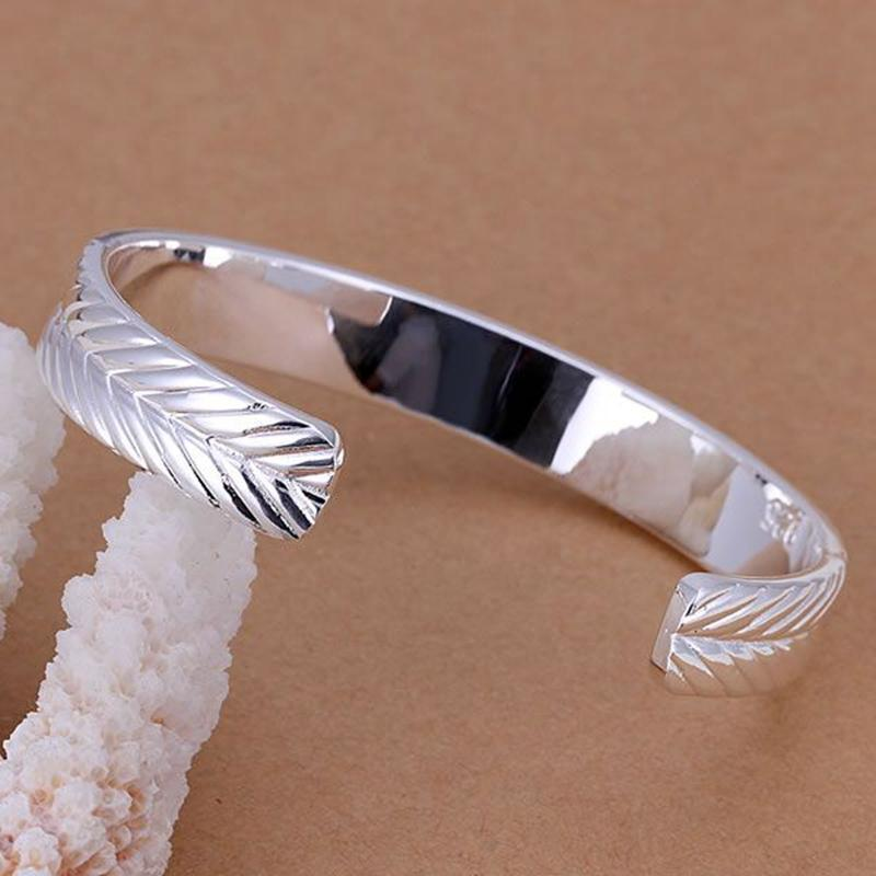 Carved Silver Plated Skinny Cuff Bangle Bracelet - FabulousLife