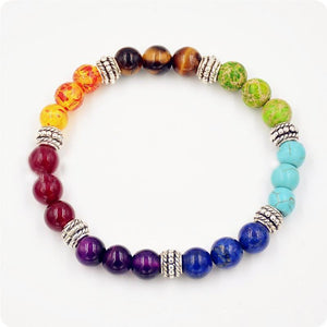 Chakra Bead Bracelet: Beads Representing the 7 Chakras, Healing Crystals, Silver Charms - FabulousLife