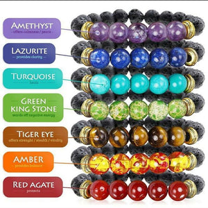 7 Chakra Bracelets: 8 MM Lava Beads, Healing Jewelry, Buddha Beads - FabulousLife