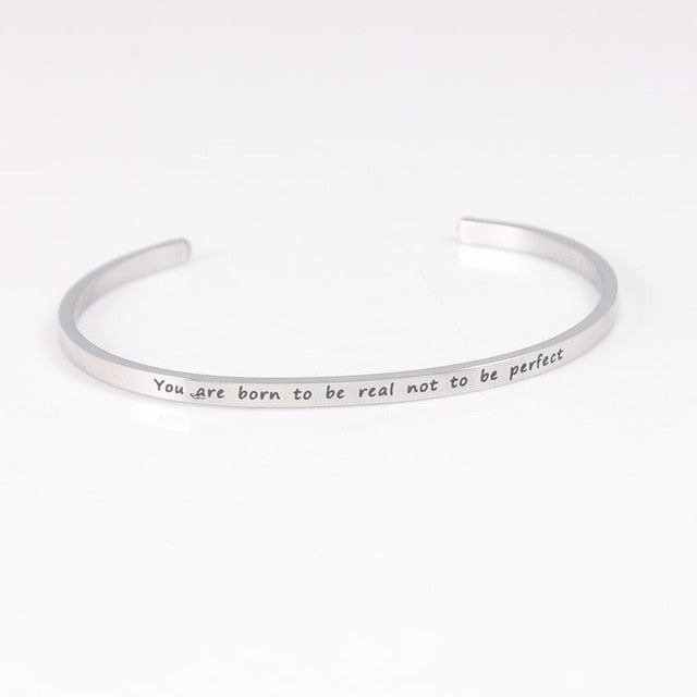 Mantra Cuff Bracelet-Silver plated Stainless Steel