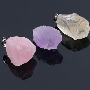 Crystal Pendants:  Citrine, Amethyst, Rose Quartz, Clear Crystal - FabulousLife