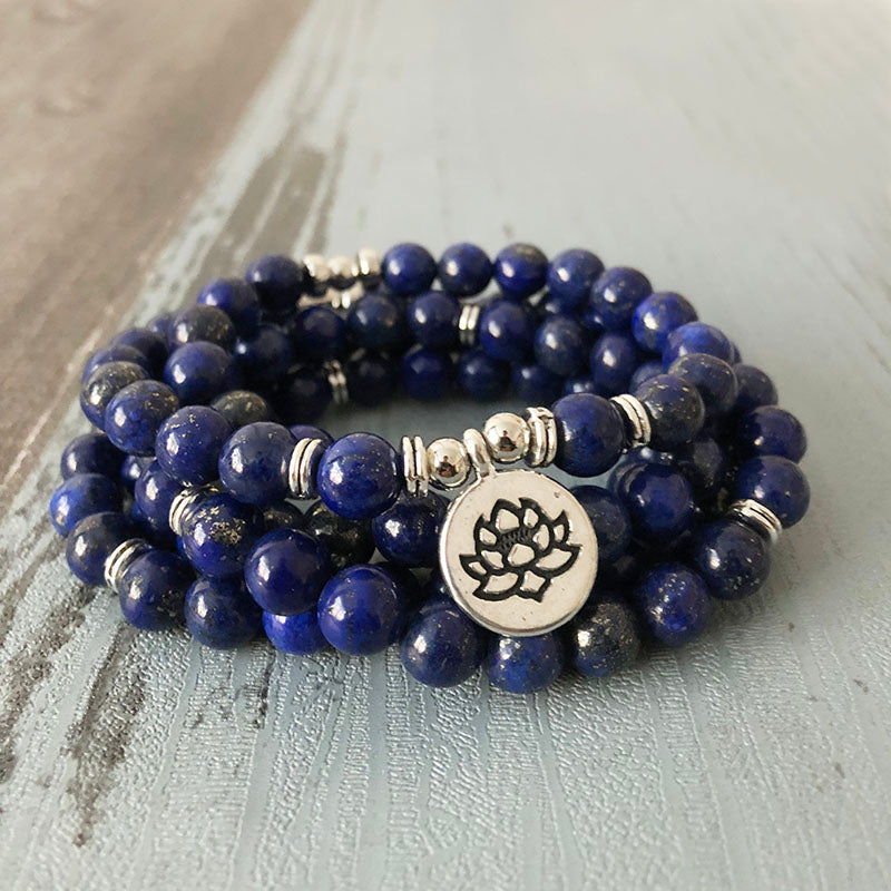 108 Bead Mala, 6mm Blue Lapis Beads, Bracelet with Lotus Charm - FabulousLife