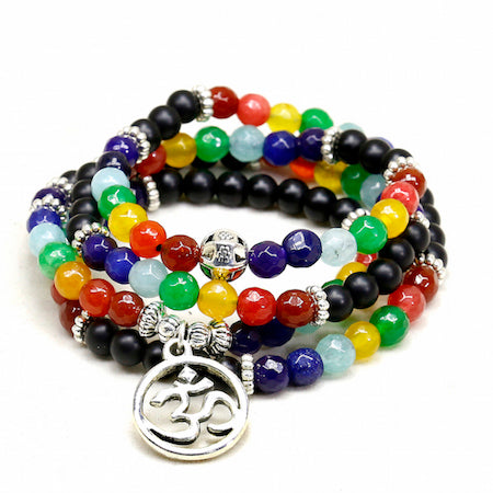 108 Bead Mala 7 Chakra Meditation Bracelet, 6mm Beads: Tree of Life or OM Charm - FabulousLife