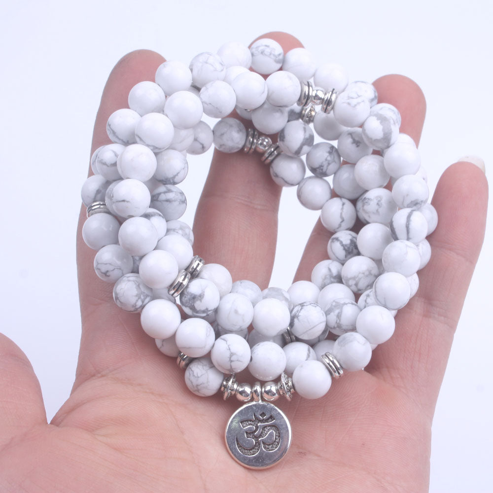 108 Bead Mala Bracelet with Charm, Natural Stone Howlite 8mm Beads - FabulousLife