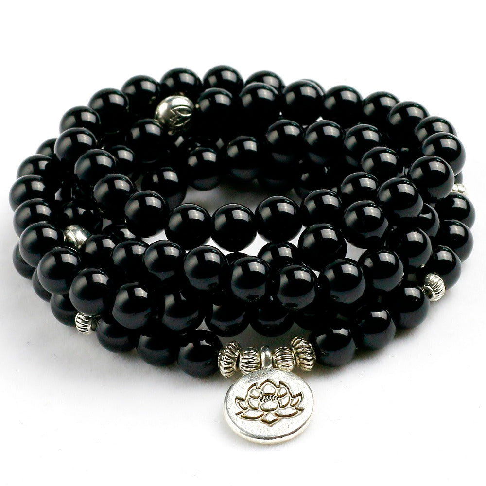 108 Bead Mala Natural Black Onyx 8mm Beads, Lotus Charm, Bracelet, Necklace - FabulousLife