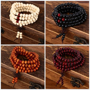 108 Prayer Beads Mala 8mm Natural Sandalwood  Buddha Bracelets: 5 Colors - FabulousLife