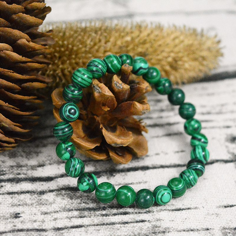 Natural Stone Emerald Malachite Handmade Bracelet, Choose Bead Size - FabulousLife