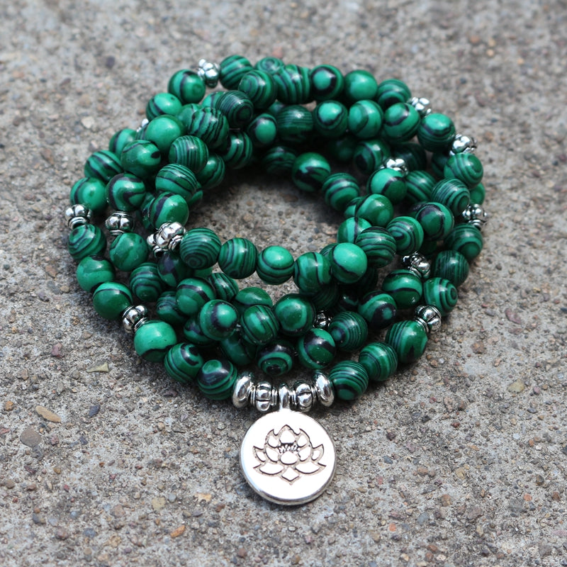 108 Malachite Prayer Beads Mala, Wear As Bracelet, Necklace, Meditation - FabulousLife