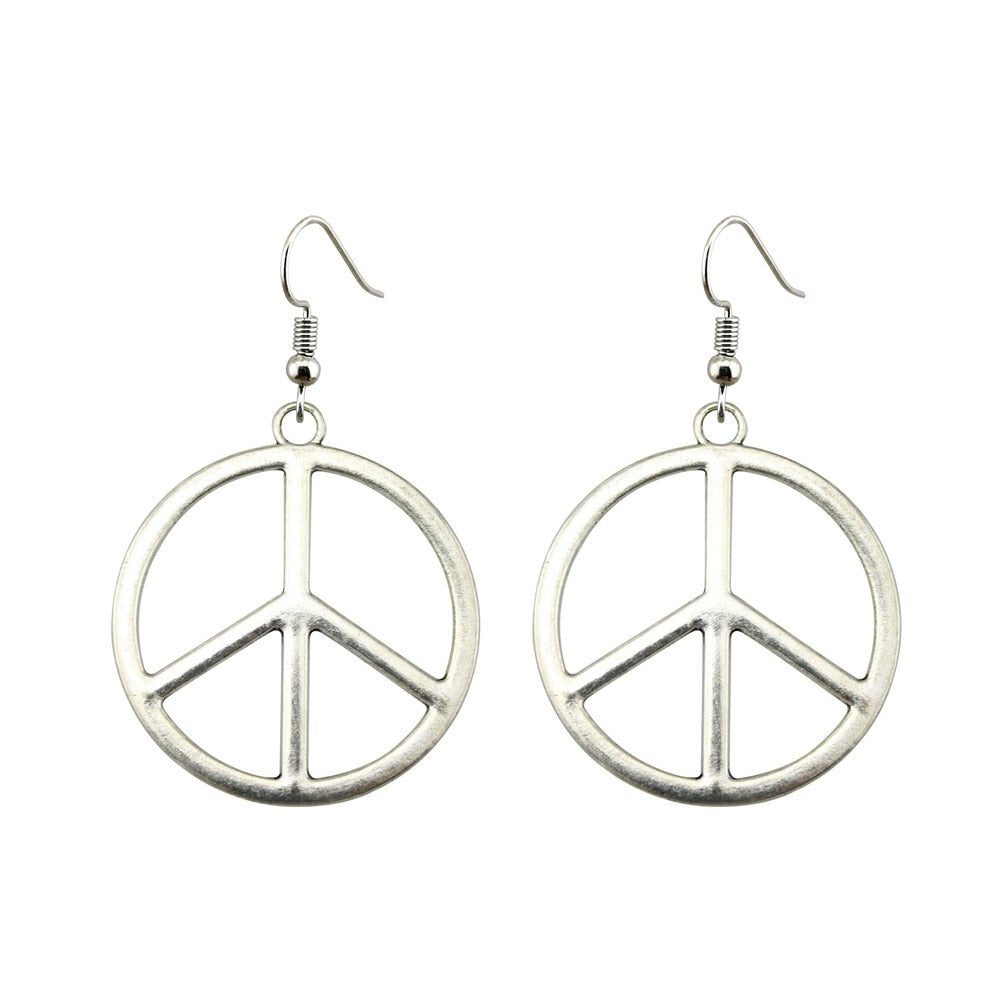 Peace Sign Earrings:  Vintage Boho Style, Choose Silver or Bronze - FabulousLife