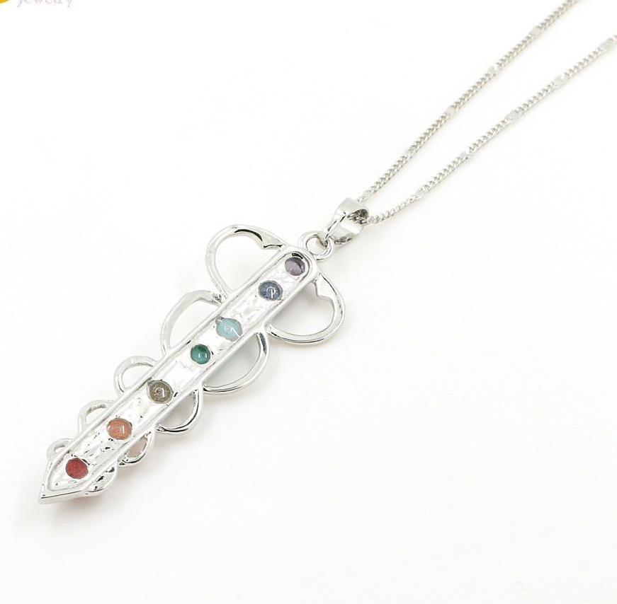 Stone Pendant Necklace Representing 7 Chakras; Energy Stones, Platinum Plated Chain - FabulousLife