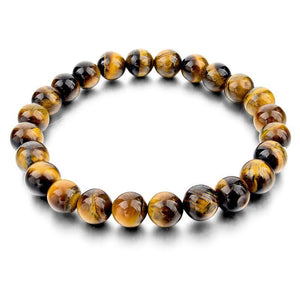 Tiger Eye Buddha Bracelet,  Stone of Protection, Power, Prosperity, Choice of 6 Colors - FabulousLife