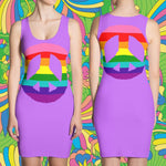 Rainbow Peace Sign on Lavender Slim-Fitted Dress, Custom Design, Unique to FabulousLife101 - FabulousLife