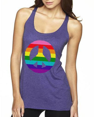 Rainbow Peace Sign on Purple Racerback Tank Top - FabulousLife