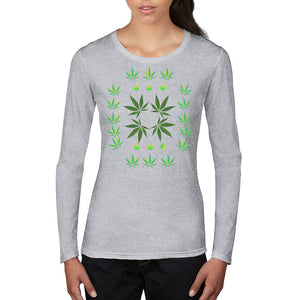 FASHION 420 Lovely Leaf LS Woman's Fitted T-Shirt - FabulousLife