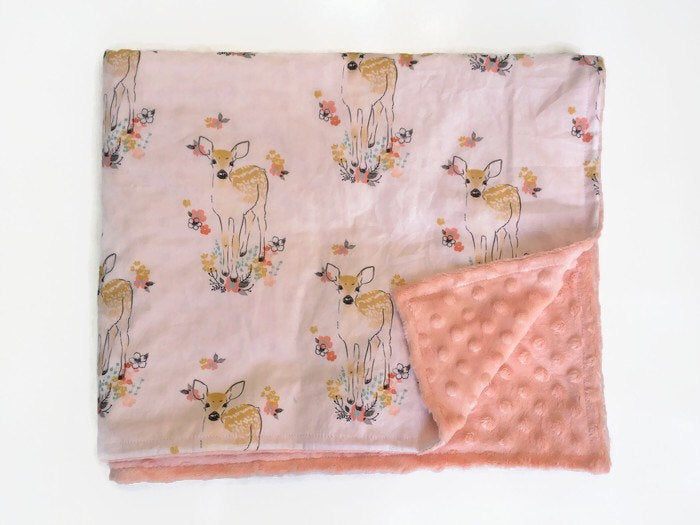 Deer Throw Blanket Buck Baby Blanket Newborn Receiving Doe Infant Swaddle Set Girls Woodland Nursery Rustic Floral  Crib Sheet Bedding Set - Dream Evergreen @DreamEvergreen