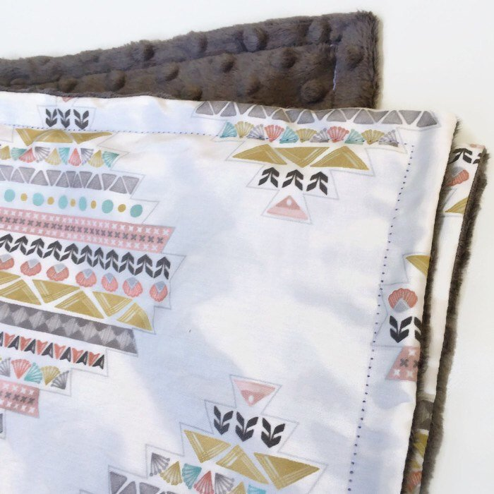 Boho Throw Blanket Southwest Baby Blanket CowGirl Receiving Bohemian Minky Swaddle Set Desert Ranch Nursery Crib Sheets Bedding- Pink Grey - Dream Evergreen @DreamEvergreen