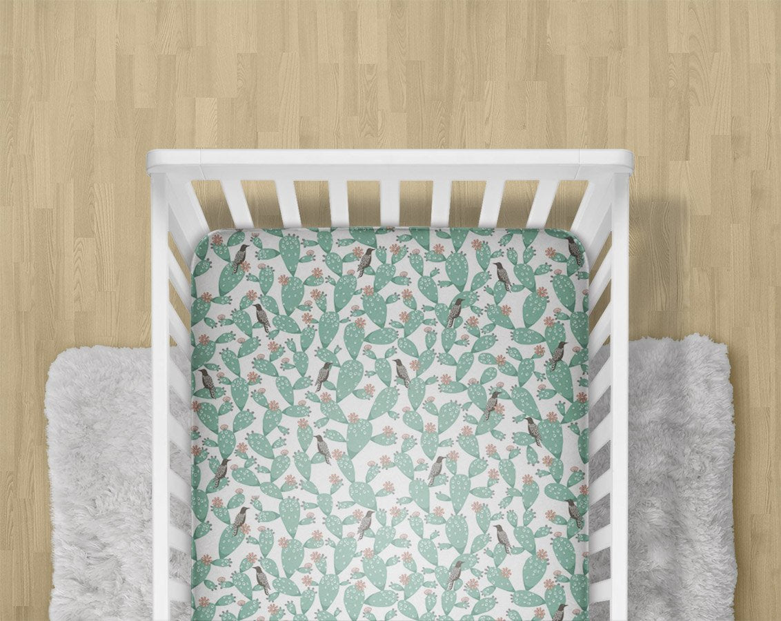 Cactus Fitted Crib Sheet- Southwest Changing Pad Cover- Desert Children Bedding Set- Toddler Minky Blanket- Nursery Decor- GOTS Organic Bird - Orange Blossom Special  @orangeblossomspecial805