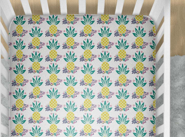 Pineapple Fitted Crib Sheet - Tropical Baby Bedding Set- Infant Nursery Bedding- Toddler Bed Sheets- Minky Blanket - Baby Shower Gift- Beach - Dream Evergreen @DreamEvergreen