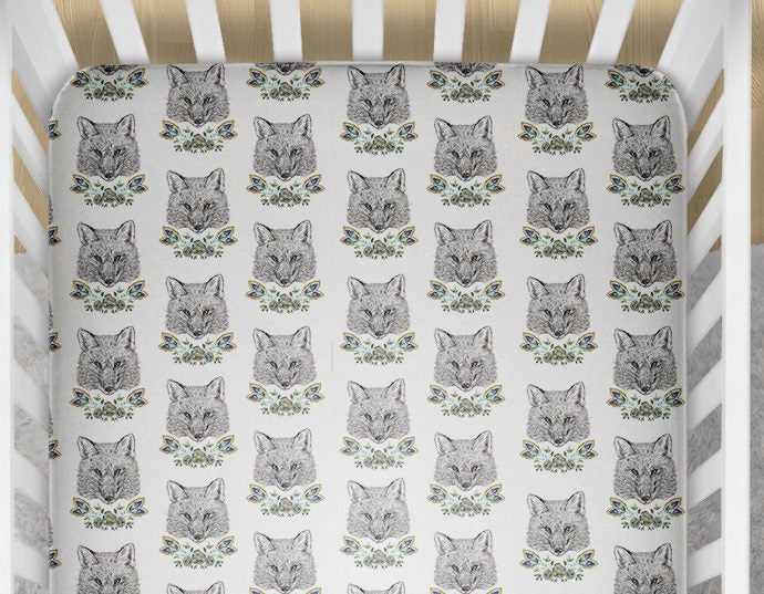 Foxes Fitted Crib Sheet - Fox Crib Bedding Set- Minky Blanket Toddler- Woodland Animals Nursery - Changing Pad Cover- GOTS Organic- Girls - Dream Evergreen @DreamEvergreen