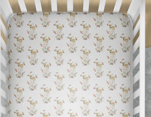 Deer Fitted Crib Sheet Fawn Baby Bedding - Orange Blossom Special  @orangeblossomspecial805