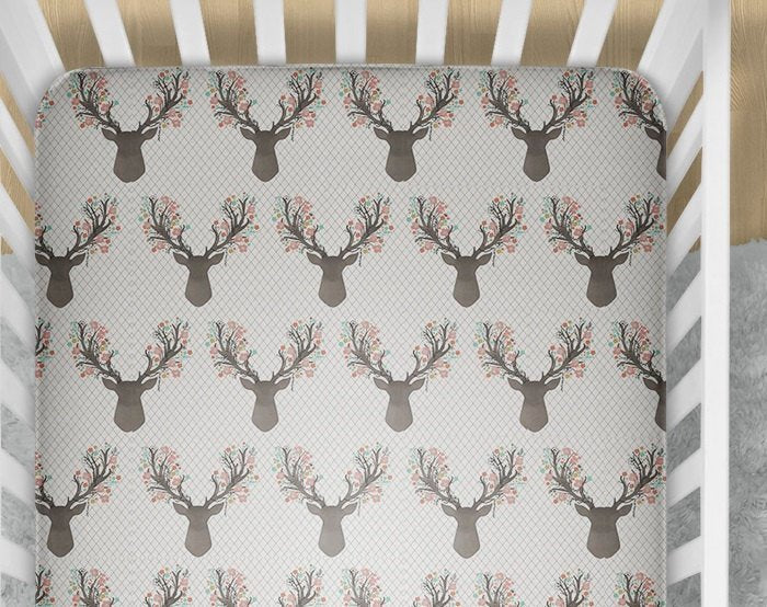 Deer Fitted Crib Sheet - Fawn Baby Bedding Set- Infant Woodland Nursery Bedding- Toddler Bed Sheets- Doe Minky Blanket - Baby Shower Gift - Dream Evergreen @DreamEvergreen