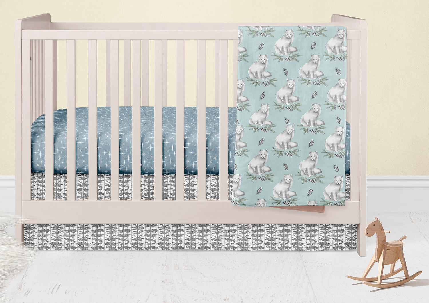 Arctic Fox Nursery Set- Owls Fitted Crib Sheet- Minky Baby Blanket- Crib Skirt-  Rail Guard Cover- Bumper- Changing Pad Cover - Woodland - Dream Evergreen @DreamEvergreen