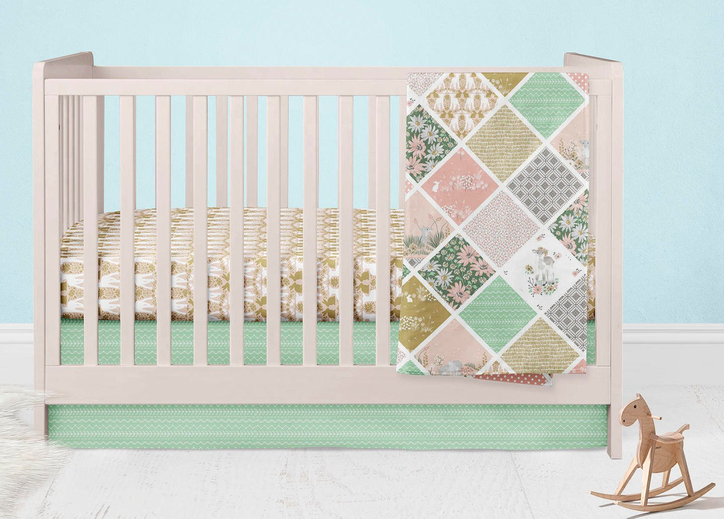 Lamb Crib Bedding-  Bunny Nursery Set - Dream Evergreen @DreamEvergreen