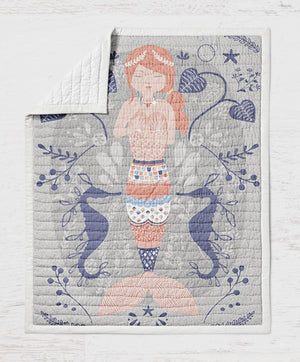 Mermaid Baby Quilt - Beachy Crib Quilt - Sea Toddler Bedding - Dream Evergreen @DreamEvergreen