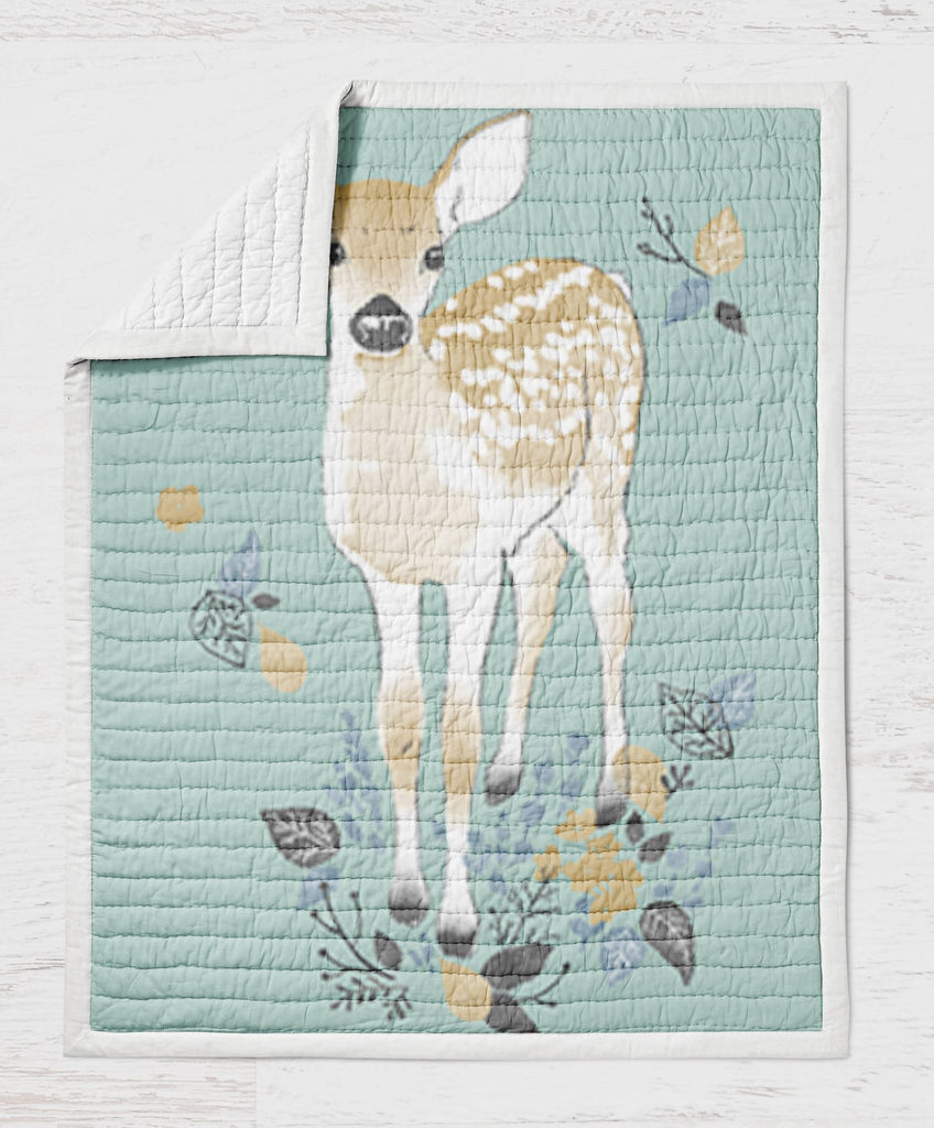 Deer Baby Quilt - Fawn Crib Quilt - Toddler Bedding - Dream Evergreen @DreamEvergreen