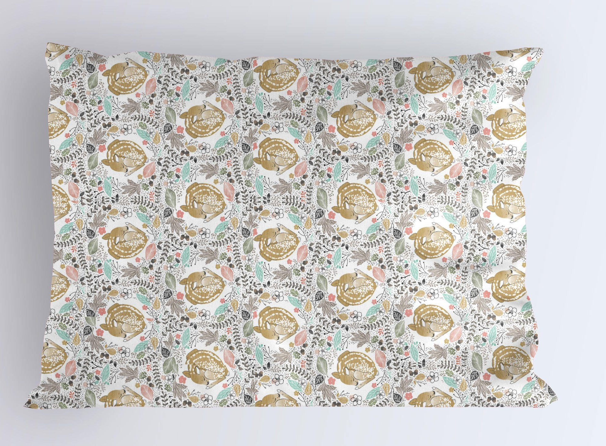 Deer Pillow Case - Fawn Pillowcase - Buck Queen Pillow- King Pillowcase- Kids Summer Bedding- Woodland Toddler Pillow Covers - Dorm Decor - Dream Evergreen @DreamEvergreen