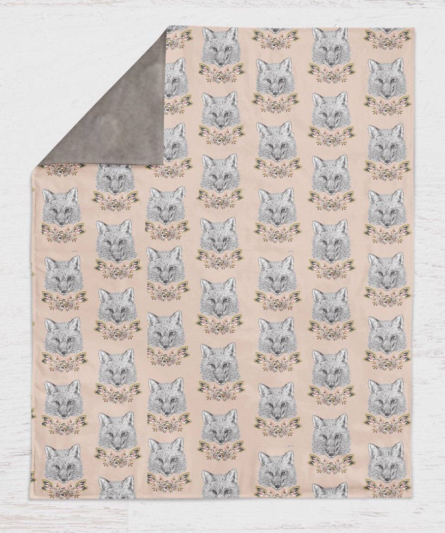 Fox Throw Blanket Minky Baby Blanket Newborn Receiving Infant Swaddle Blanket Set Girls Woodland Nursery Rustic Crib Sheet Bedding Set Pink - Dream Evergreen @DreamEvergreen
