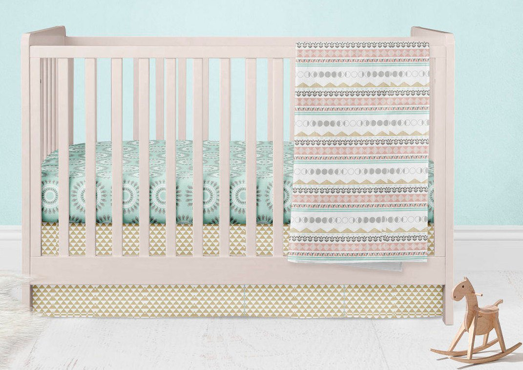 Cactus Crib Bedding Set- Fitted Crib Sheet- Arrow Crib Skirt - Bohemian Baby Blanket- Pink Gold Nursery - Feathers Baby Shower - Toddler Bed - Dream Evergreen @DreamEvergreen