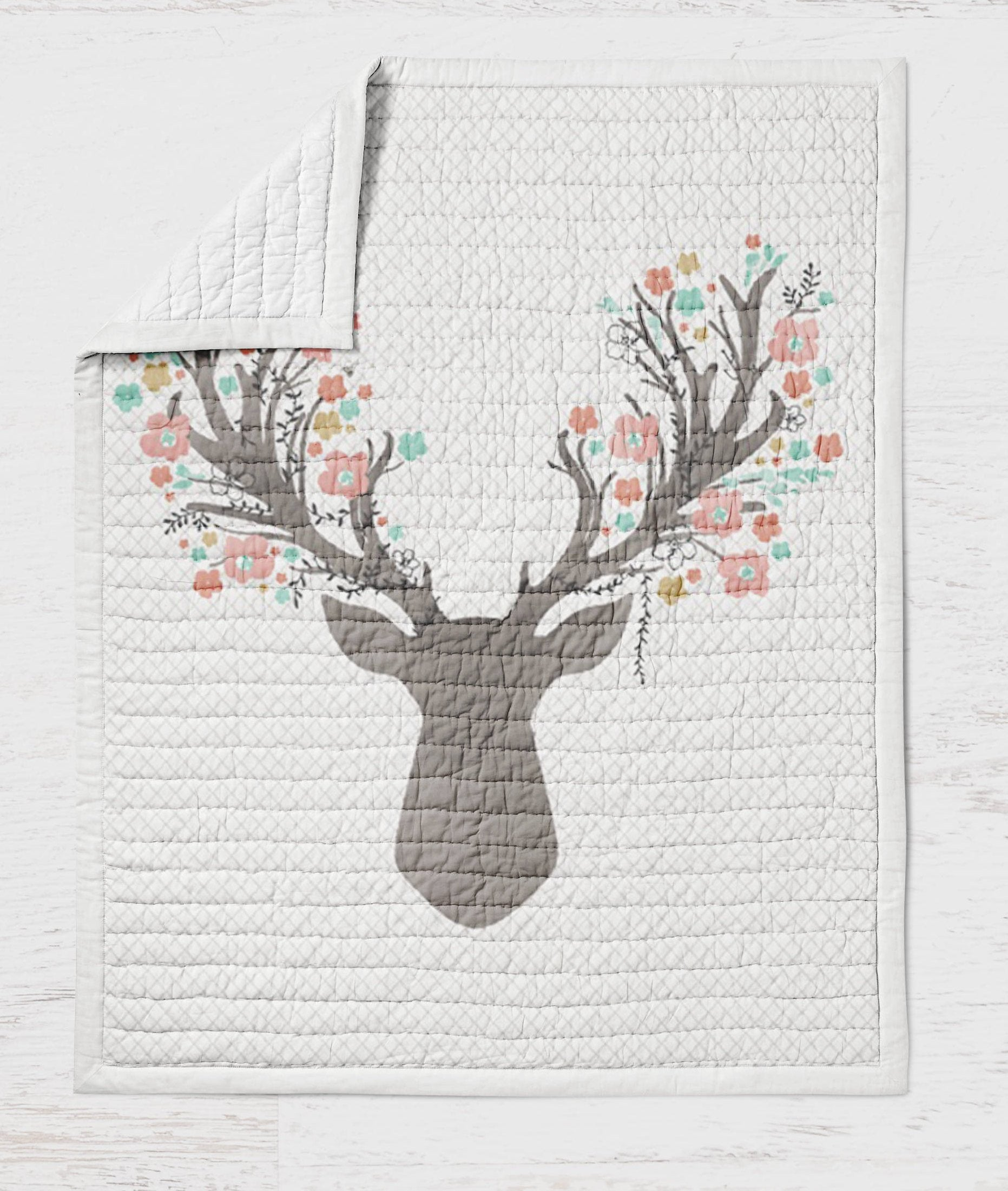 Deer Baby Quilt - Fawn Crib Quilt - Toddler Bedding- Infant Rustic Baby Shower Gift- Woodland Nursery Girlie- Pink Grey Wholecloth Quilt - Dream Evergreen @DreamEvergreen