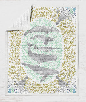 Whale Quilt - Ocean Crib Quilt - Narwhal Toddler Bedding - Orange Blossom Special  @orangeblossomspecial805