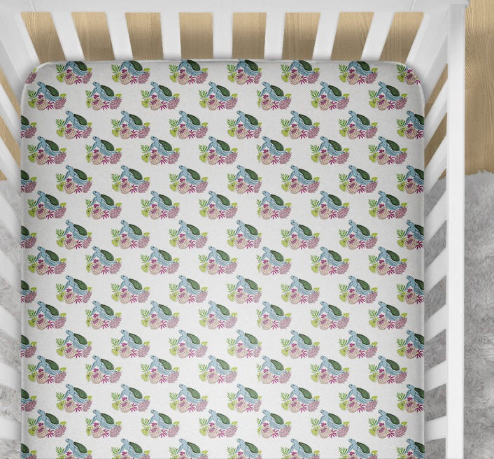 Sea Turtles Changing Pad Cover- Tropical Fitted Crib Sheet- Change Mat Cover- Summer Crib Bedding Set- Nursery - Island Sea Baby Shower - Dream Evergreen @DreamEvergreen