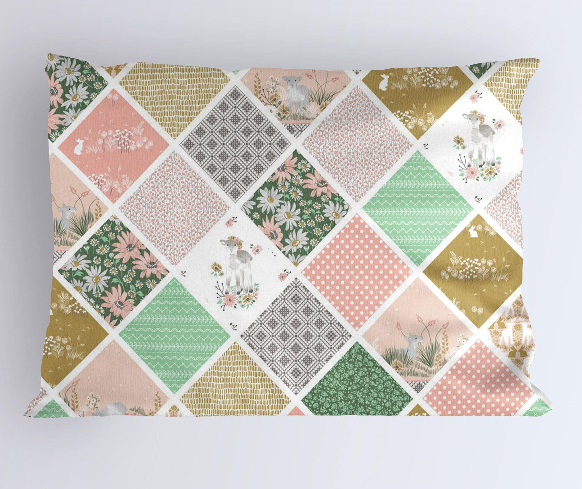 Lamb Pillow Case - Pink Pillowcase - Gold Queen Pillowcase- Floral King Pillowcase- Summer Bedding- Girls Toddler Pillow Covers - Dorm Decor - Dream Evergreen @DreamEvergreen