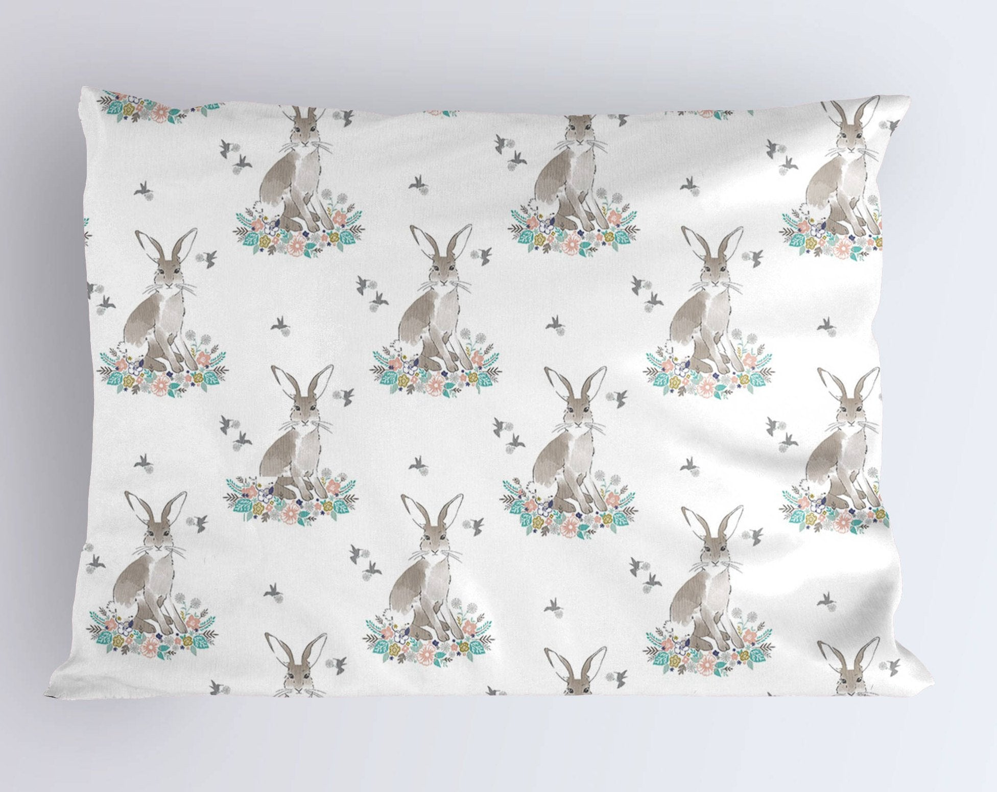 Rabbit Pillow Case - Bunny Pillowcase - Queen Pillow- King Pillowcase- Kids Summer Bedding- Woodland Toddler Pillow Covers - Dorm Decor - Dream Evergreen @DreamEvergreen