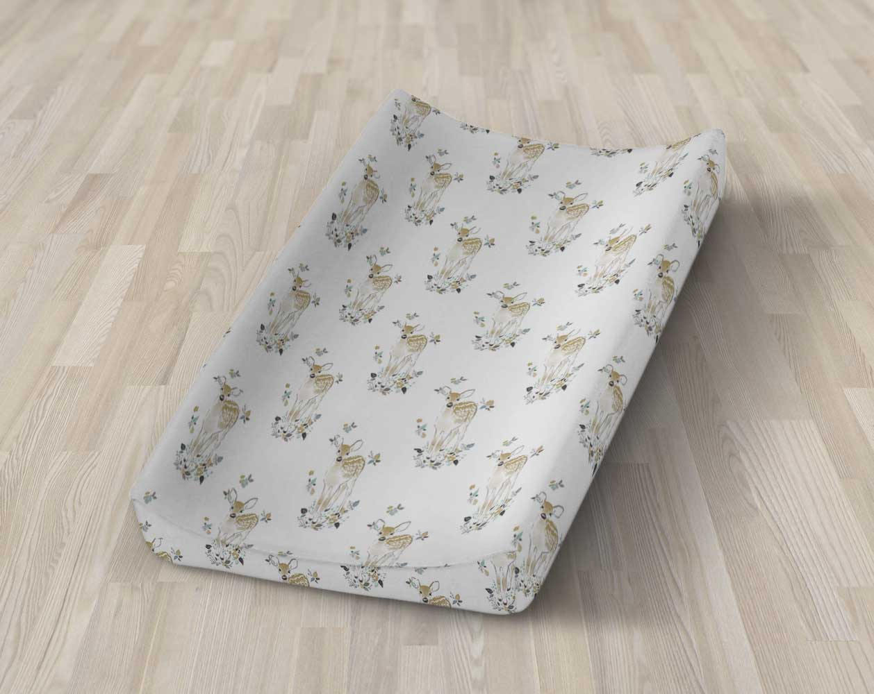 Fawn Changing Pad Cover- Deer Change Pad Cover - Buck Diaper Change Mat - Woodland Crib Sheet Set Rustic Nursery Bedding Gender Neutral Blue - Dream Evergreen @DreamEvergreen