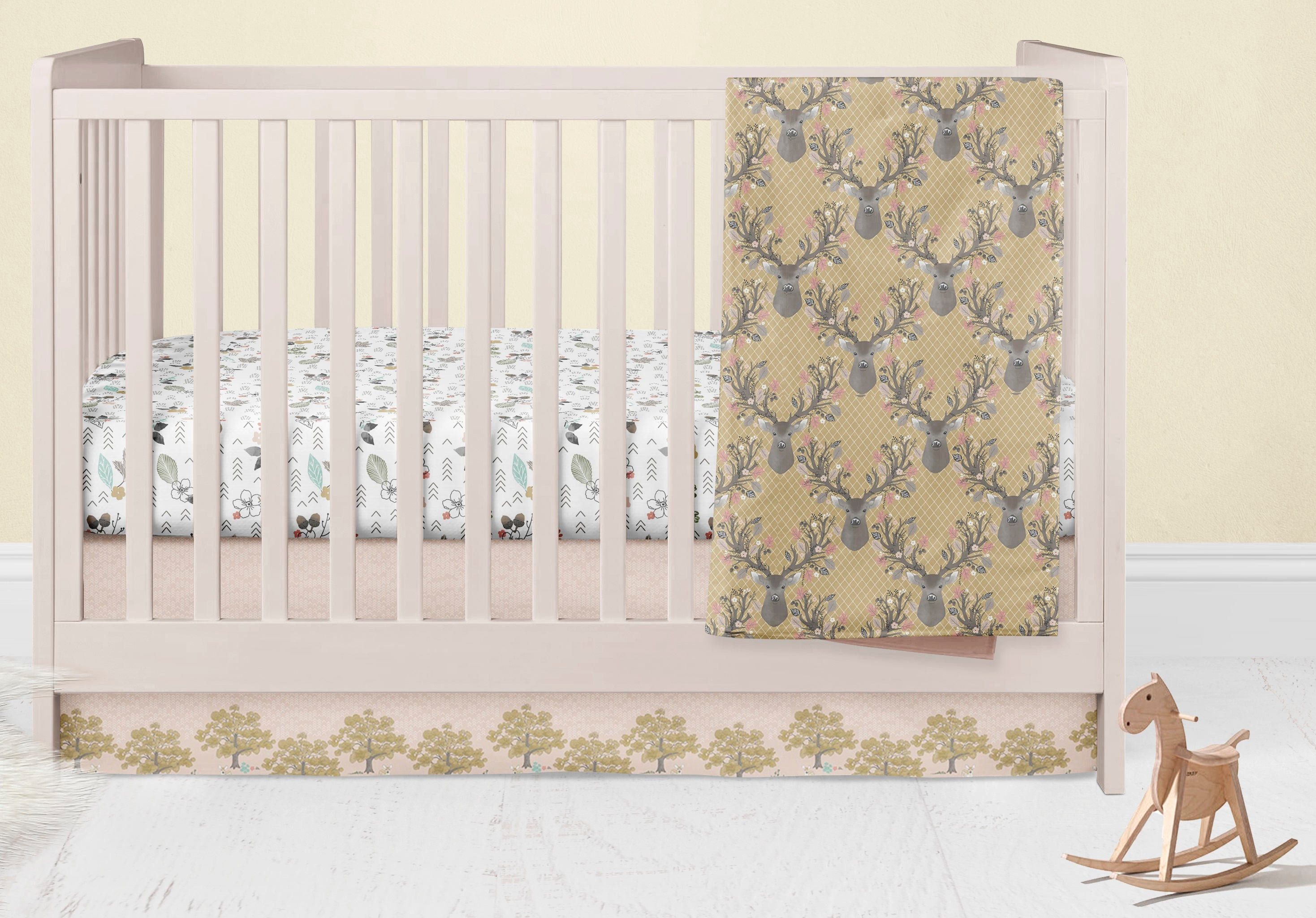 Fawn Changing Pad Cover- Deer Fitted Crib Sheet- Buck Change Mat Cover- Crib Bedding Set- Woodland Nursery Decor - Rustic Baby Shower- Boys - Dream Evergreen @DreamEvergreen