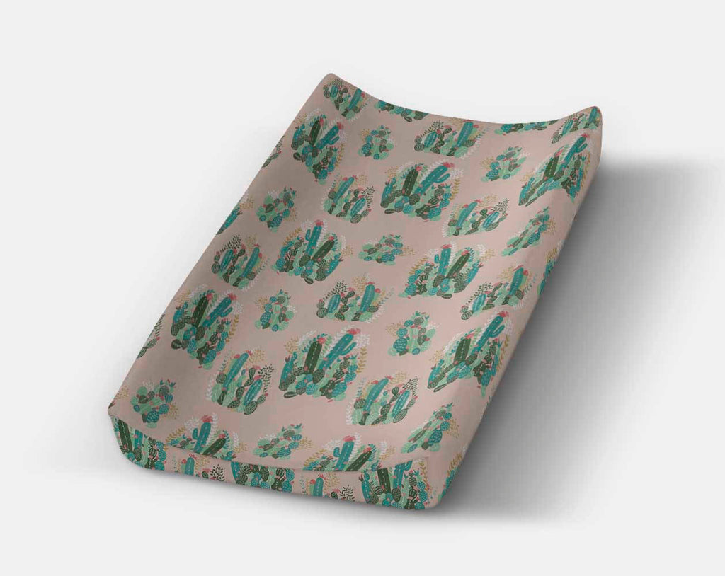 Cactus Changing Pad Cover- Succulent Change Pad -Southwest Diaper Change Mat - Orange Blossom Special  @orangeblossomspecial805