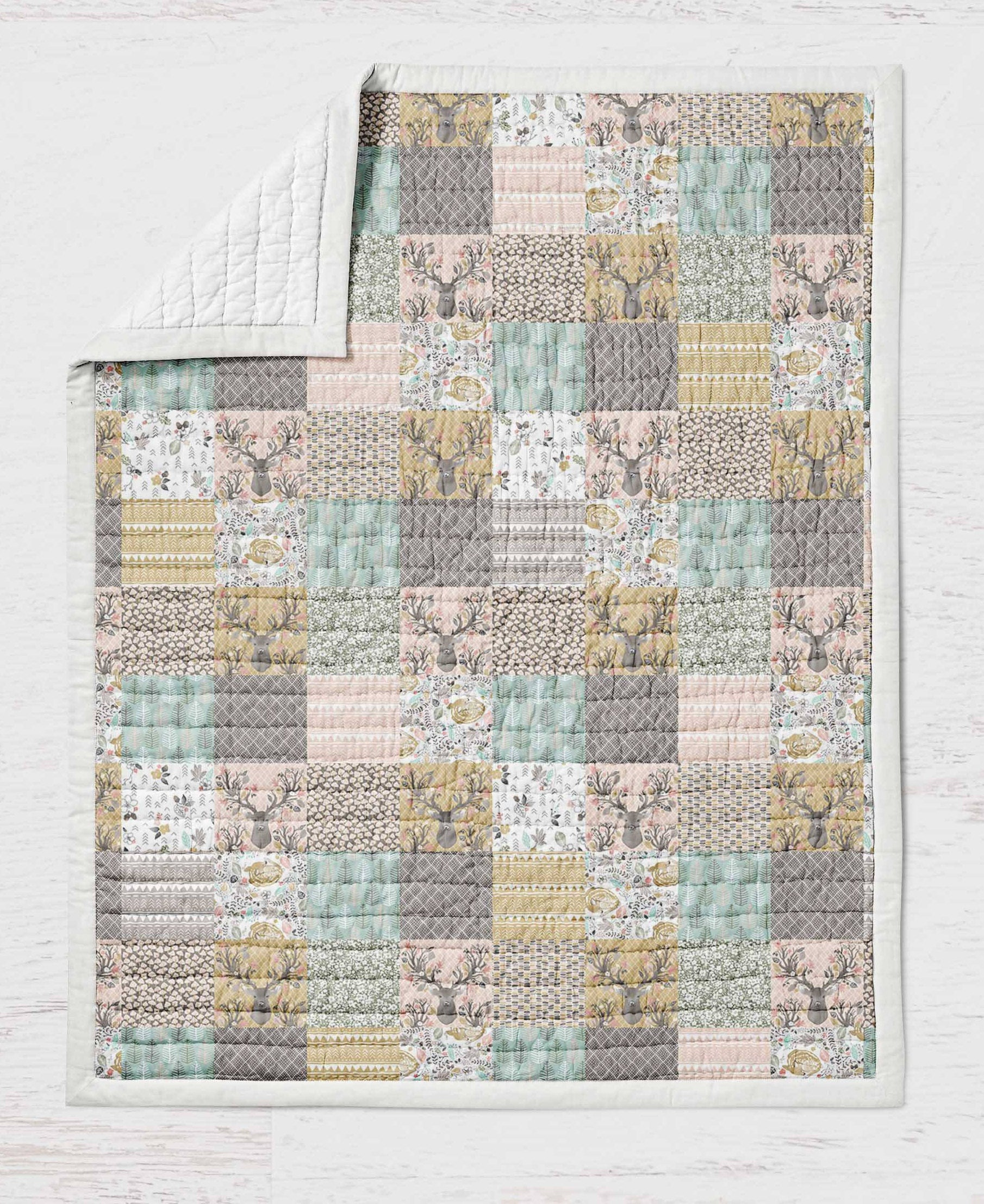 Deer Quilt - Buck Toddler Bedding - Wild and Free - Orange Blossom Special  @orangeblossomspecial805