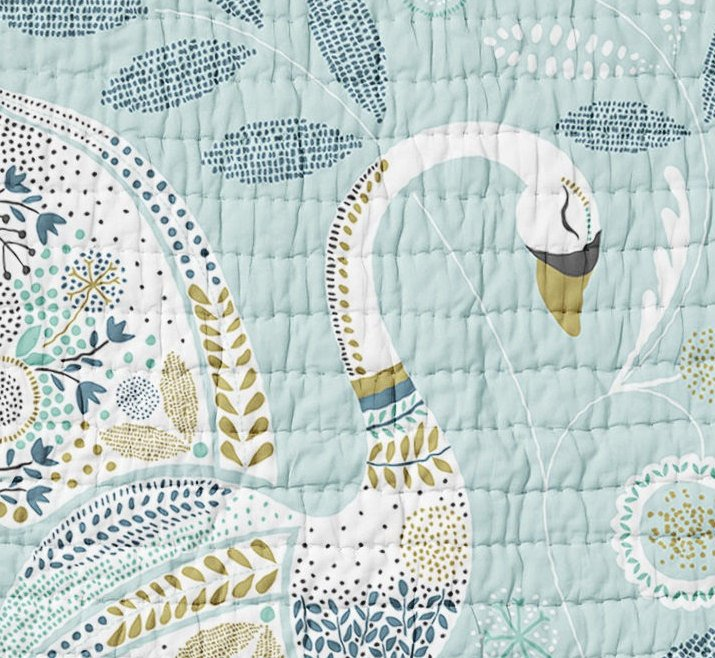 Swan Quilt - Birds Crib Quilt - Toddler Bedding - Baby Shower Gift- Woodland Nursery - Wholecloth Quilt- Swan Bed- Blue Boys Quilt Bedding - Dream Evergreen @DreamEvergreen