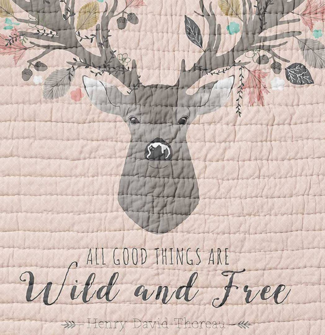 Deer Baby Quilt - Fawn Crib Quilt - Toddler Bedding- Infant Rustic Baby Shower - Woodland Nursery Girlie- Wholecloth Lap Quilt Throw Blanket - Dream Evergreen @DreamEvergreen