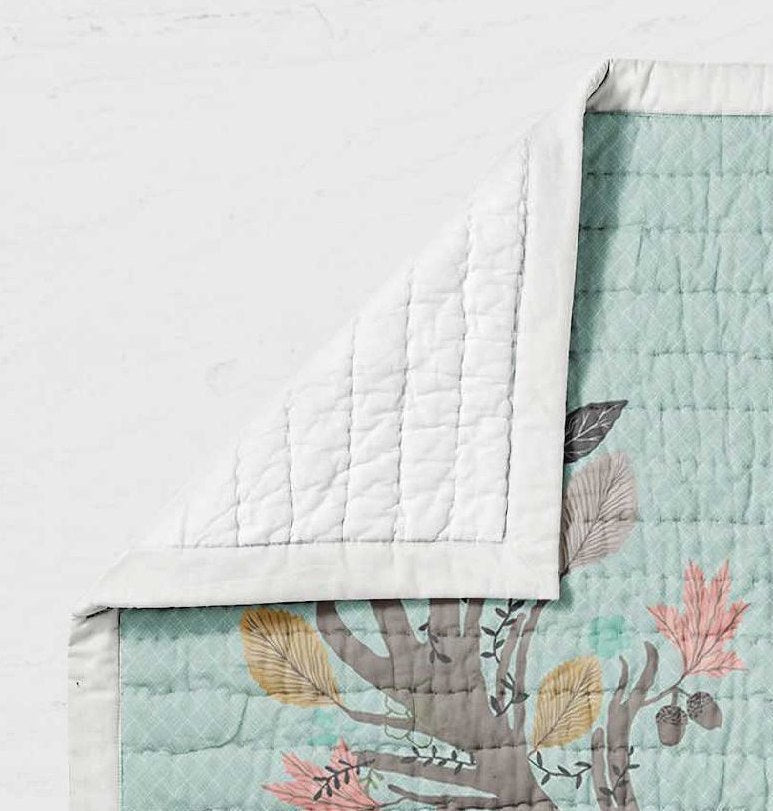 Deer Baby Quilt - Fawn Crib Quilt - Toddler Bedding - Dream Evergreen